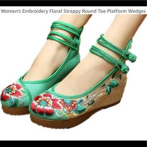Green Embroidered Floral Round Toe Wedge Size 7